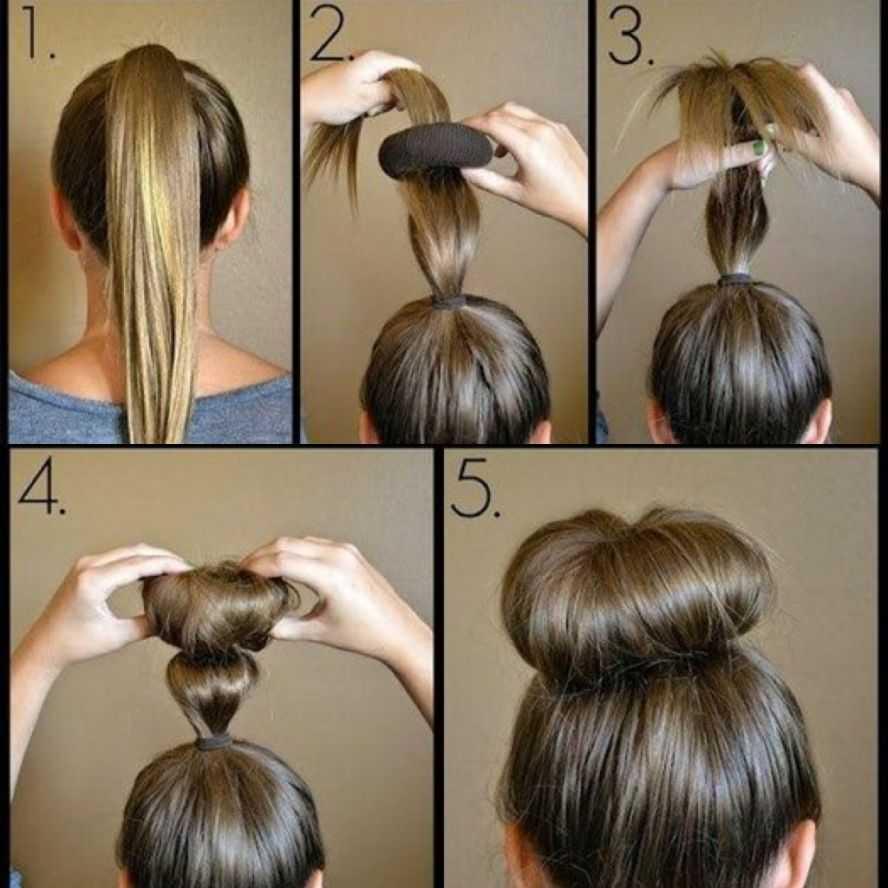 Как сделать пучок на голове с помощью резинки: 14 способов с фото