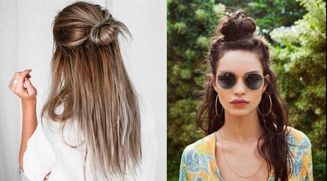 Модные пучки с распущенными волосами: 40 вариантов с фото